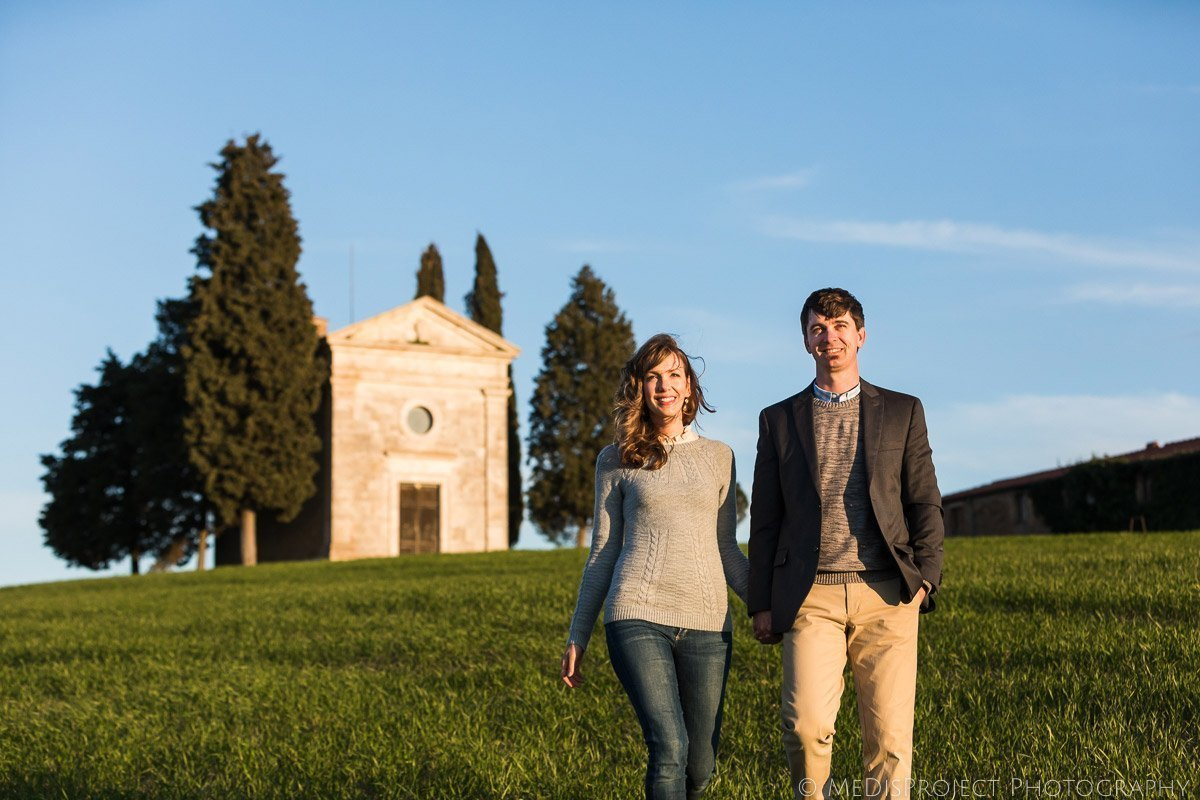 love story photo at Vitaleta Chapel