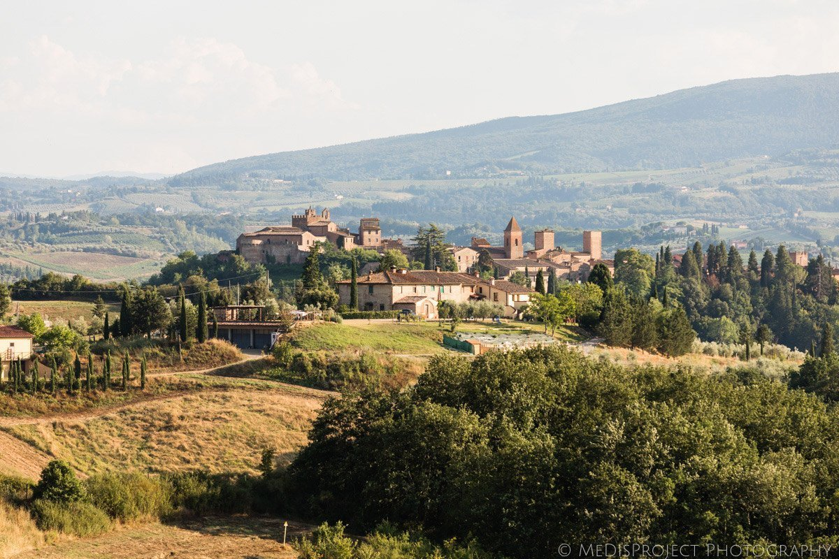 Panoramic view of Certaldo and San Gimignano