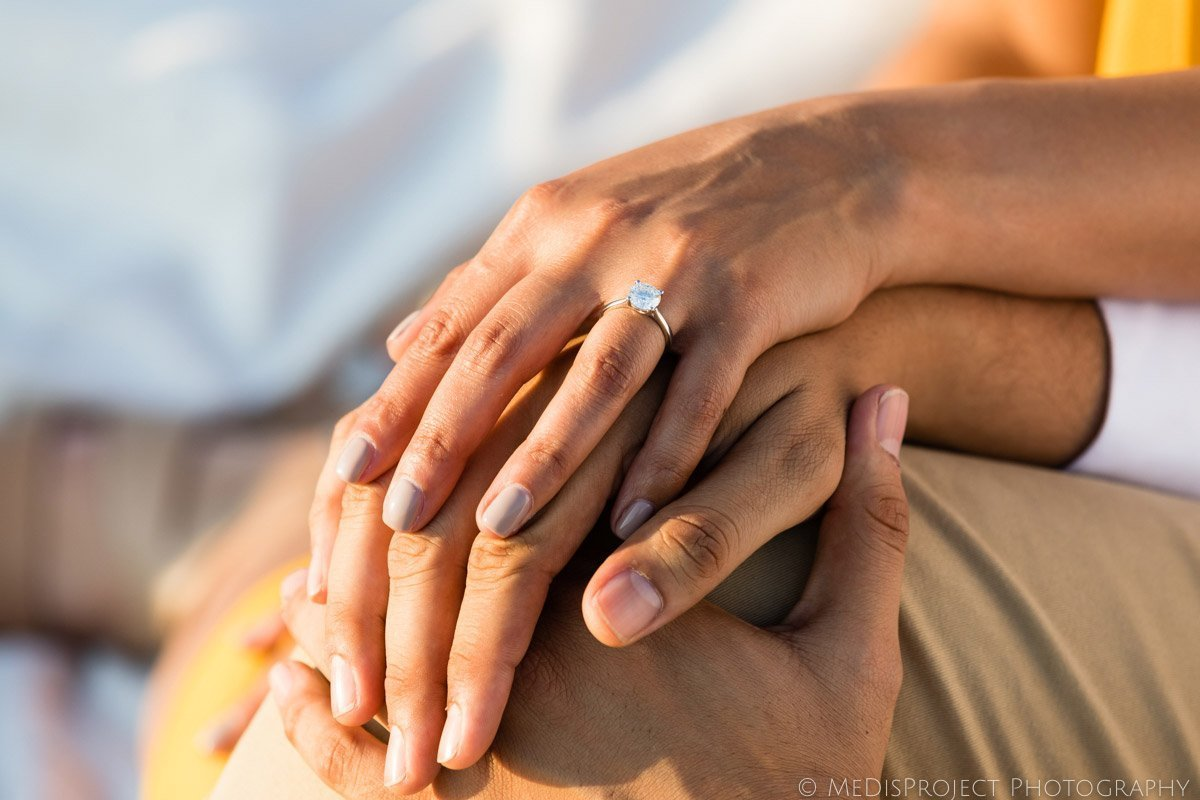 Picnic marriage proposal ring