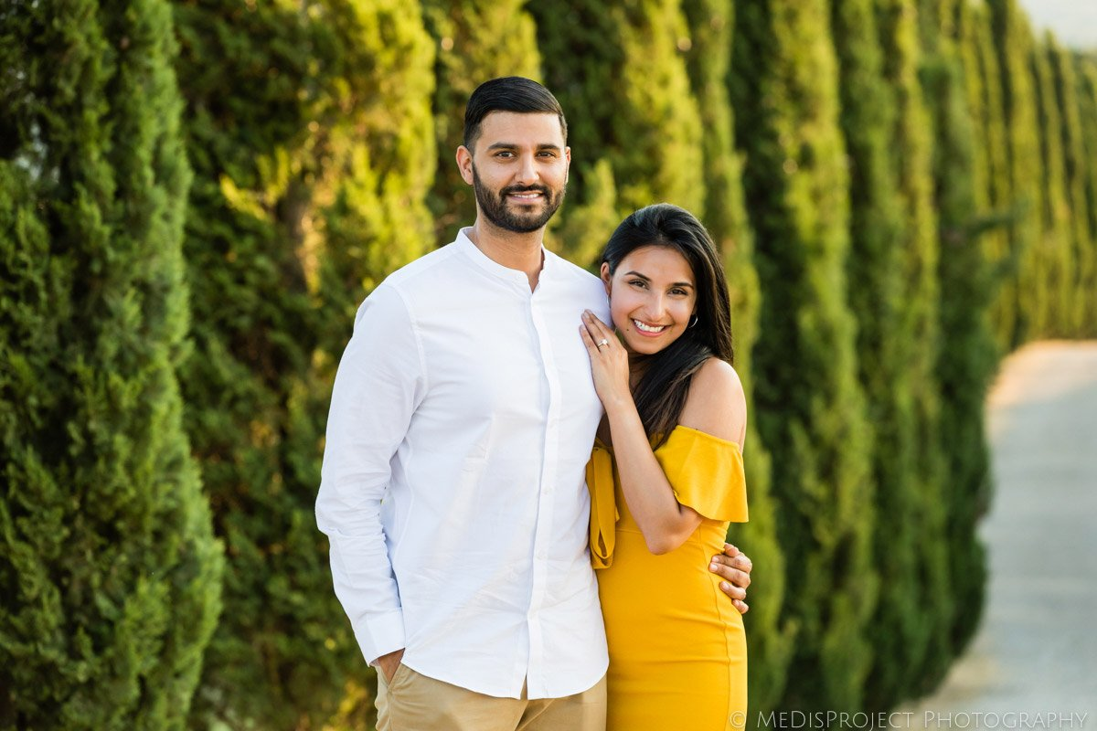 classical portrait of an Indian couple in Tuscany