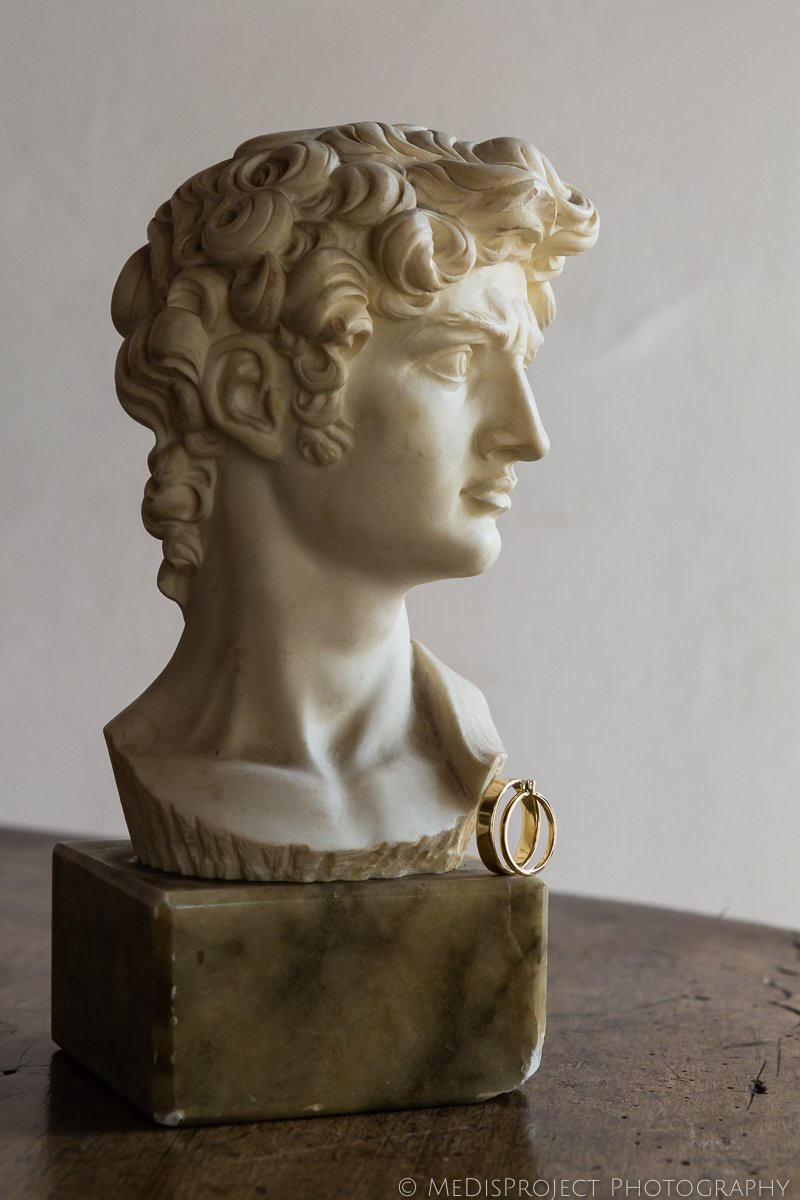 Detail of two wedding rings with Michelangelo's David copy