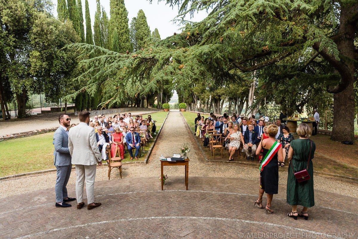 wedding ceremony setup at Villa Petrolo