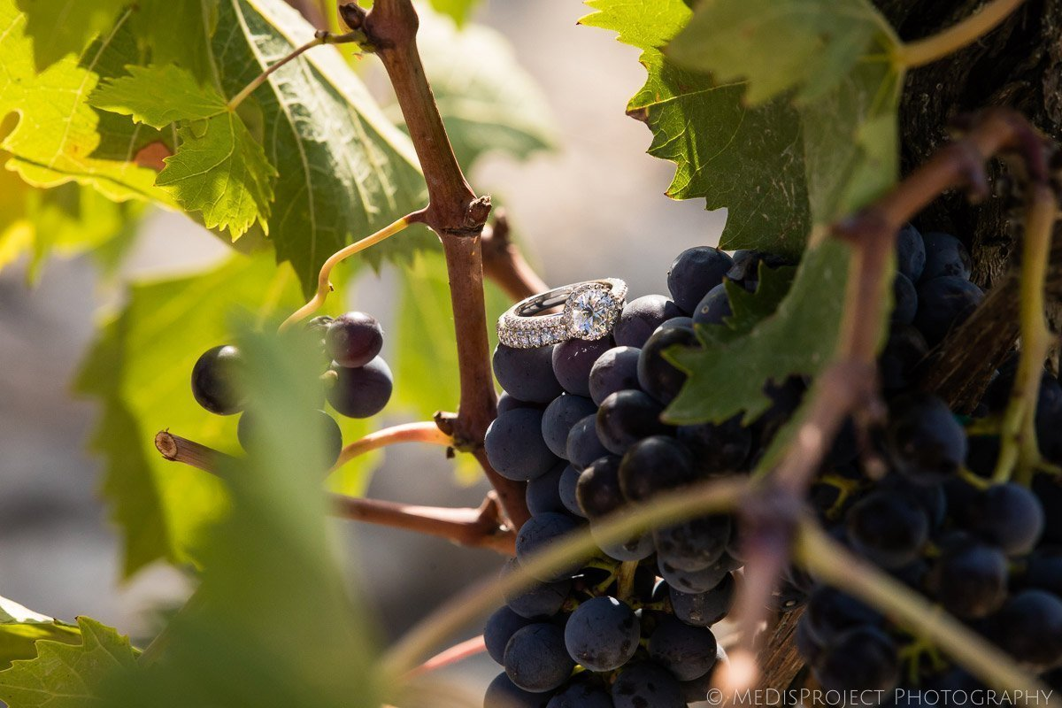 Wedding rings on a Tuscan bunch of grapes