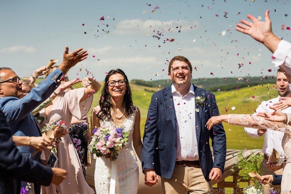 confetti shot after the wedding ceremony at Il Rigo