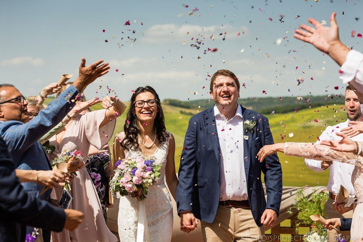 confetti shot after the wedding ceremony at Il Rigo