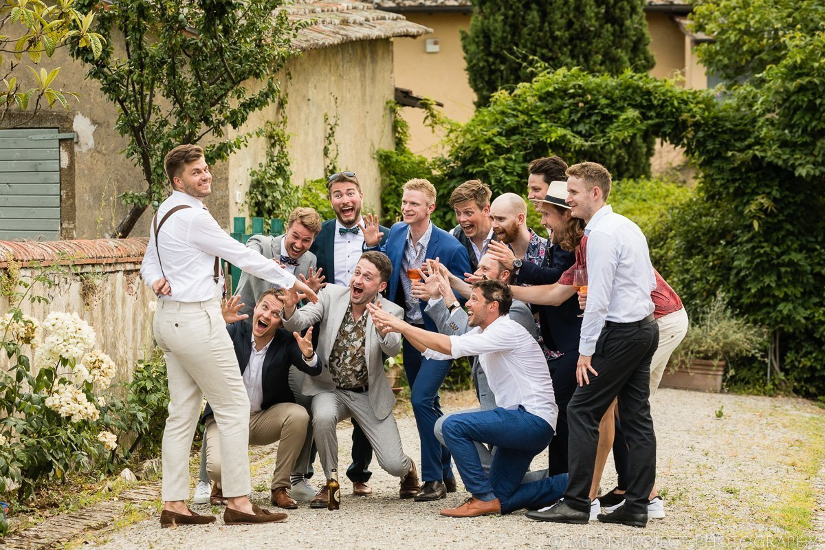 funny photo of the groom and his friends