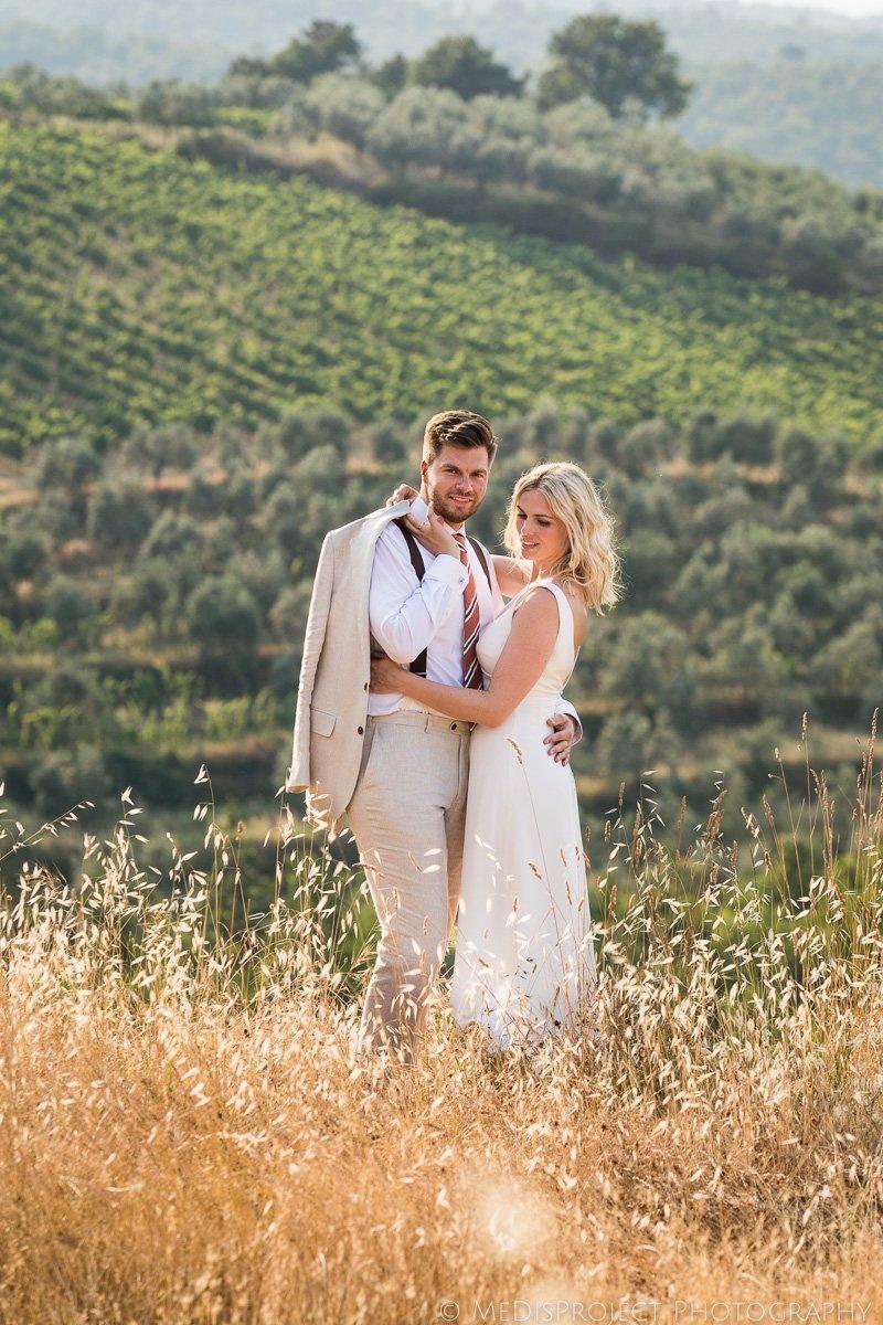 classic bride and groom's portrait in Chianti