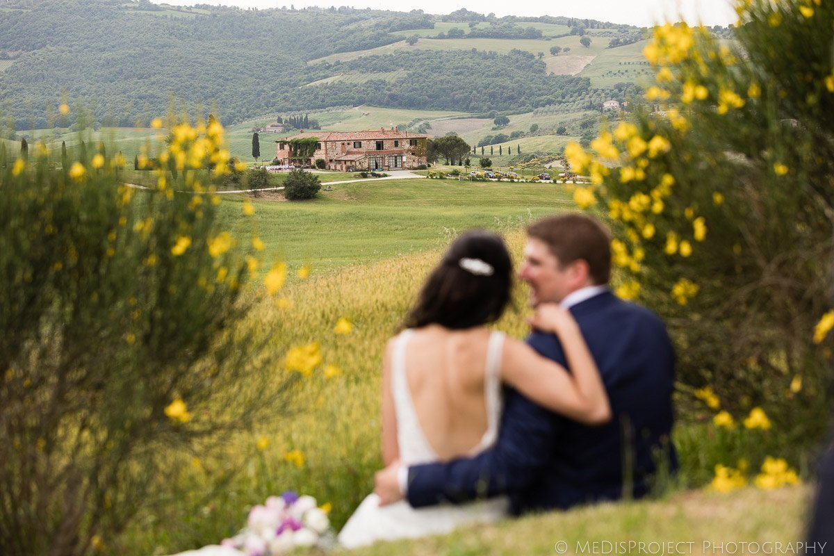 bride and groom during a wedding portrait session at Agriturismo il Rigo Tuscany