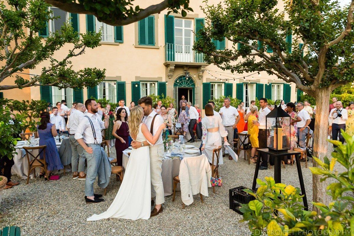 Wedding dinner outside Villa Petrolo