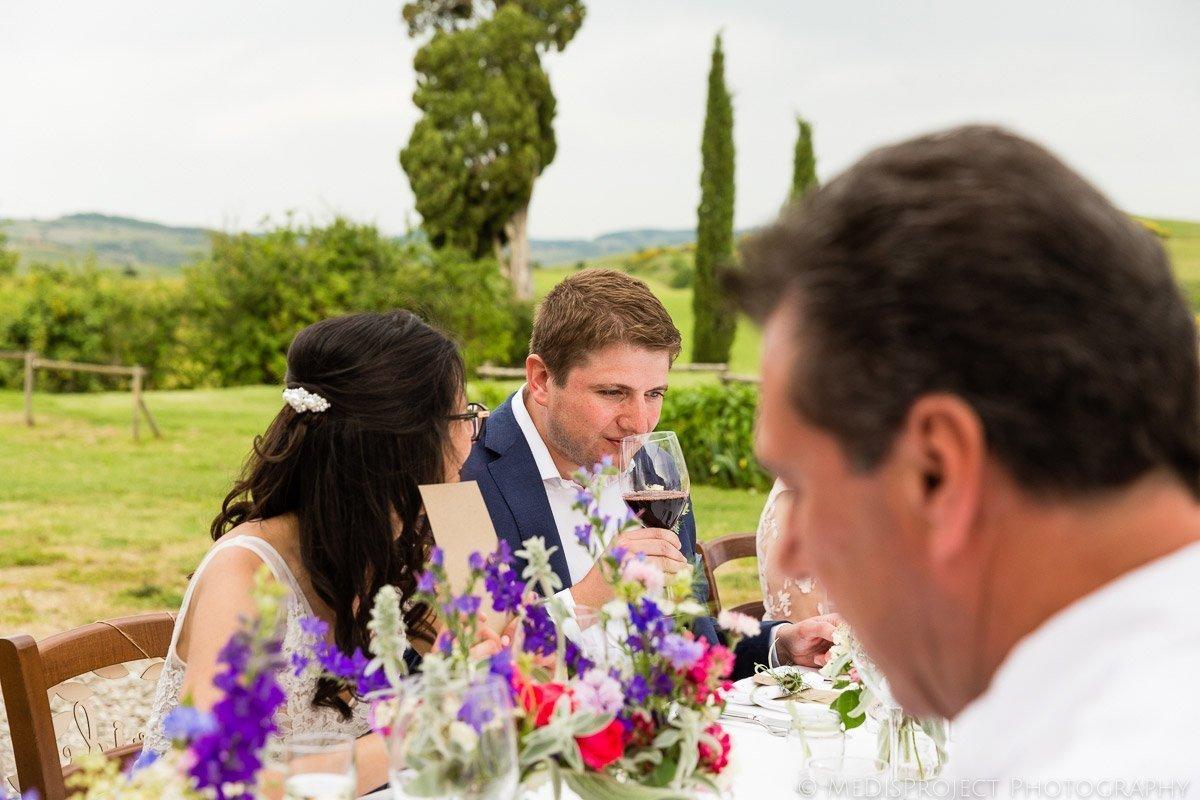 wine lovers wedding dinner at Agriturismo il Rigo