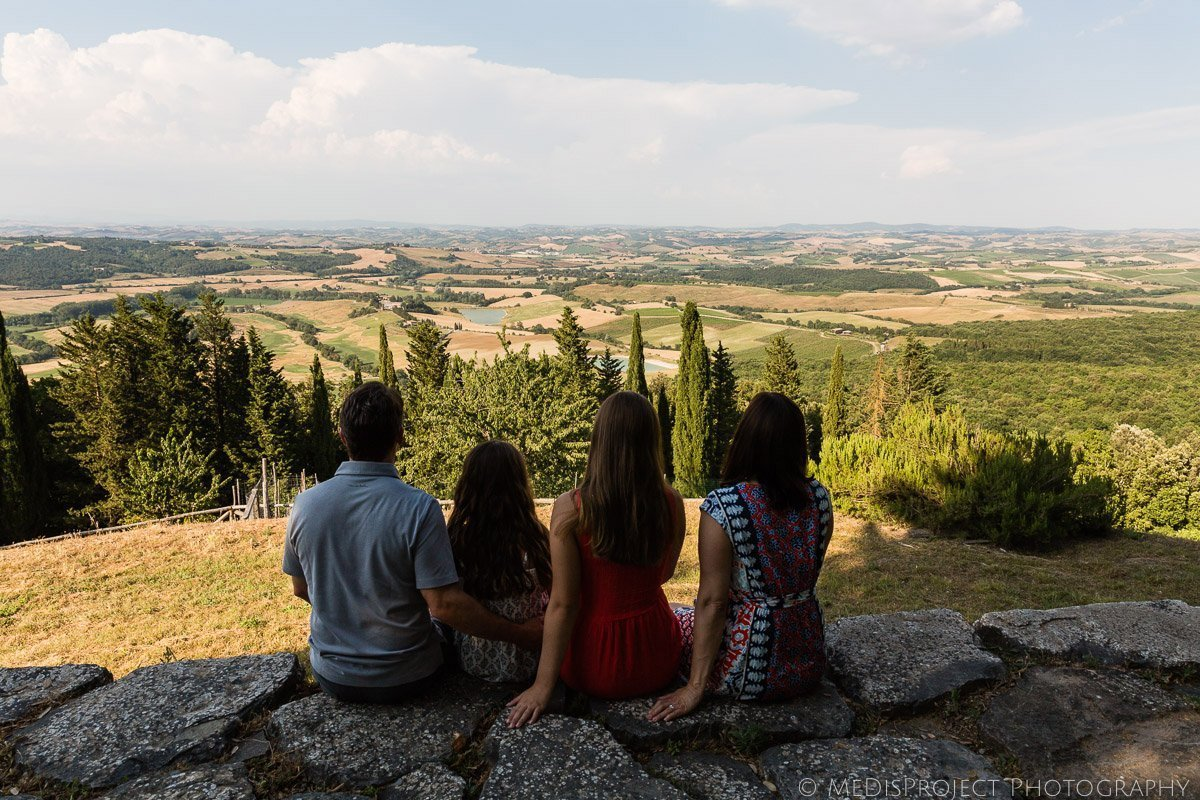 family enjoying the Tuscan landscape
