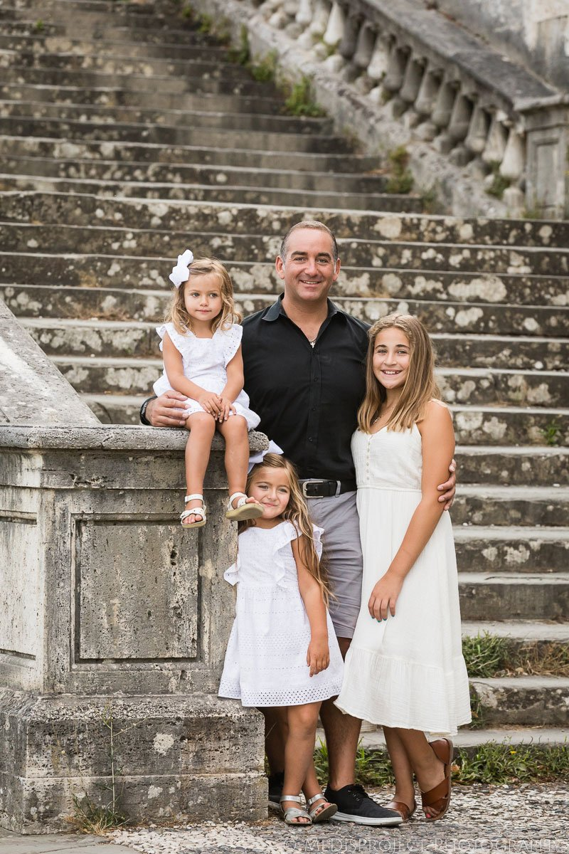 father and daughters portrait in Florence