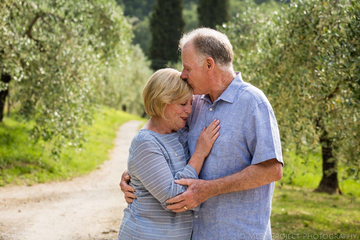 senior couple celebrating their wedding anniversary at Villa Ripanera