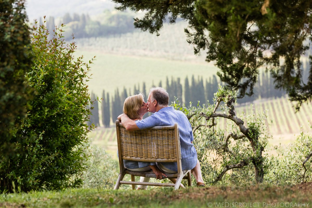 senior couple celebrating their wedding anniversary at Villa Ripanera in Tuscany