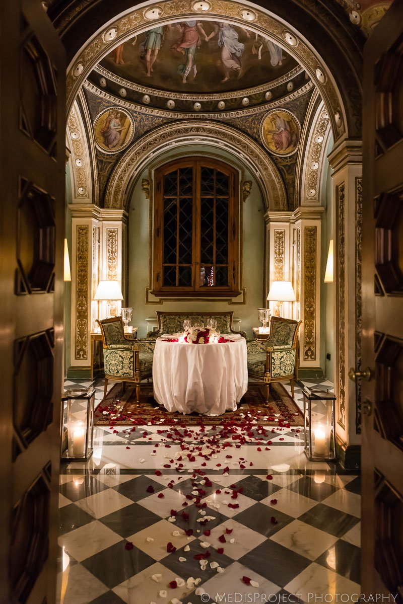 Private dinner table setting at the Four Seasons hotel in Florence