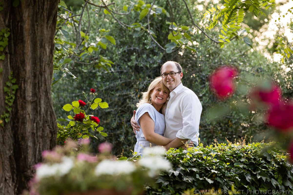 couple posing for romantic photos during a family photo session in Florence