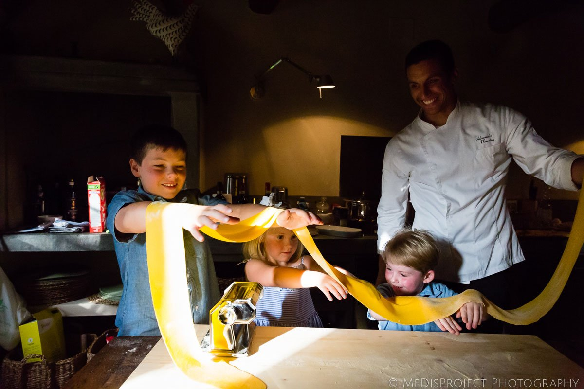 Kids making pasta with private chef at Villa Ripanera