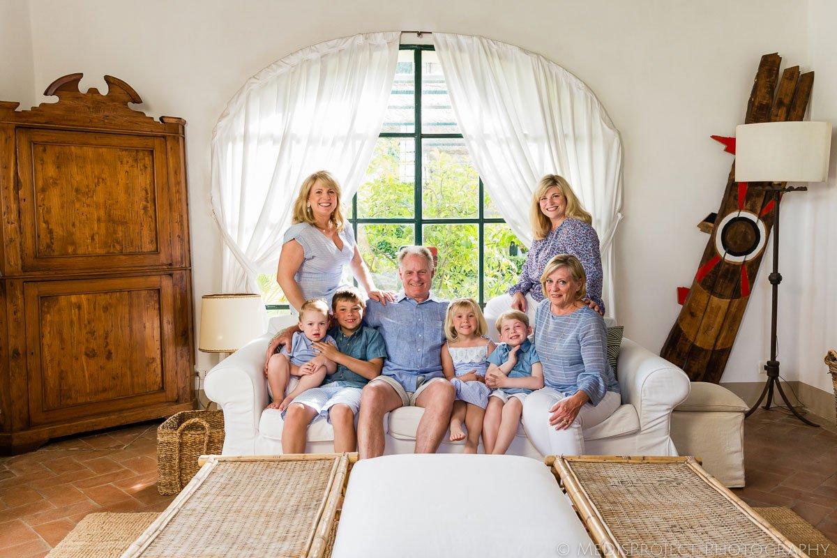 Large family portrait at Villa Ripanera outside Florence Italy