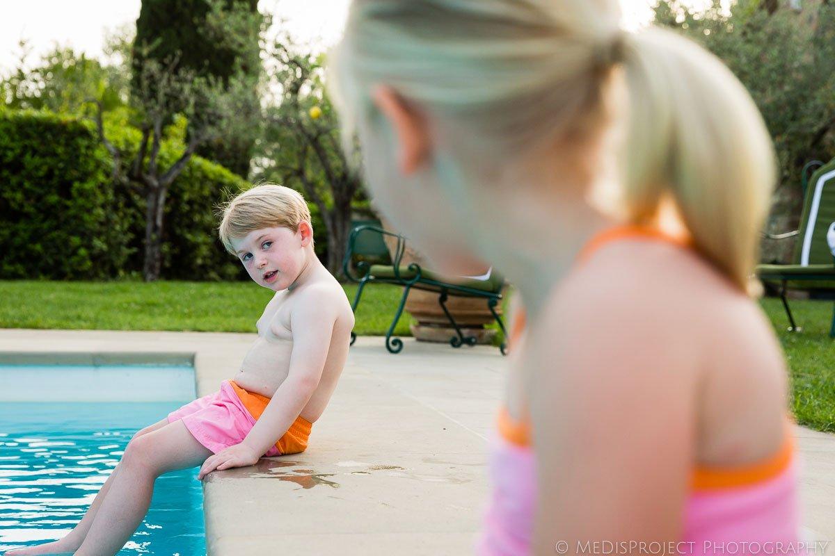 children in the swimming pool at Villa Ripanera
