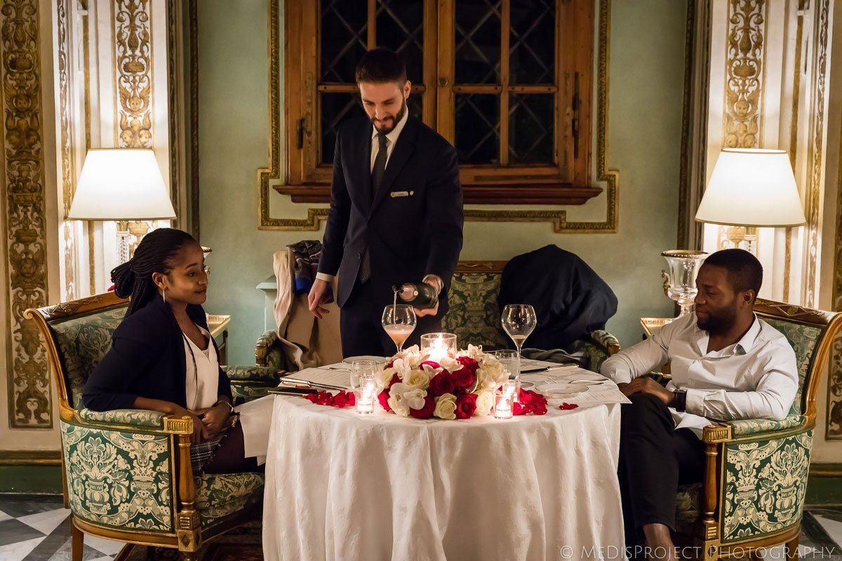 Private dinner service at the Four Seasons hotel in Florence