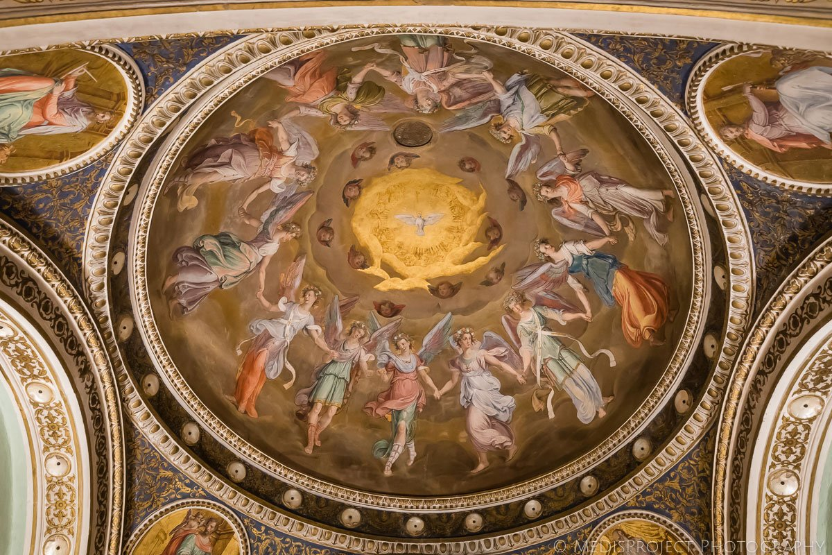 Ceiling decorations of a little dining room in Four Seasons Hotel Florence