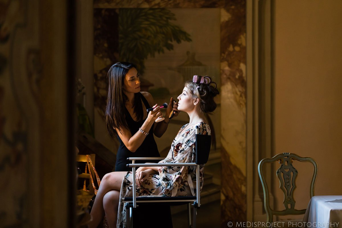 Bride getting ready for wedding at Meleto Castle
