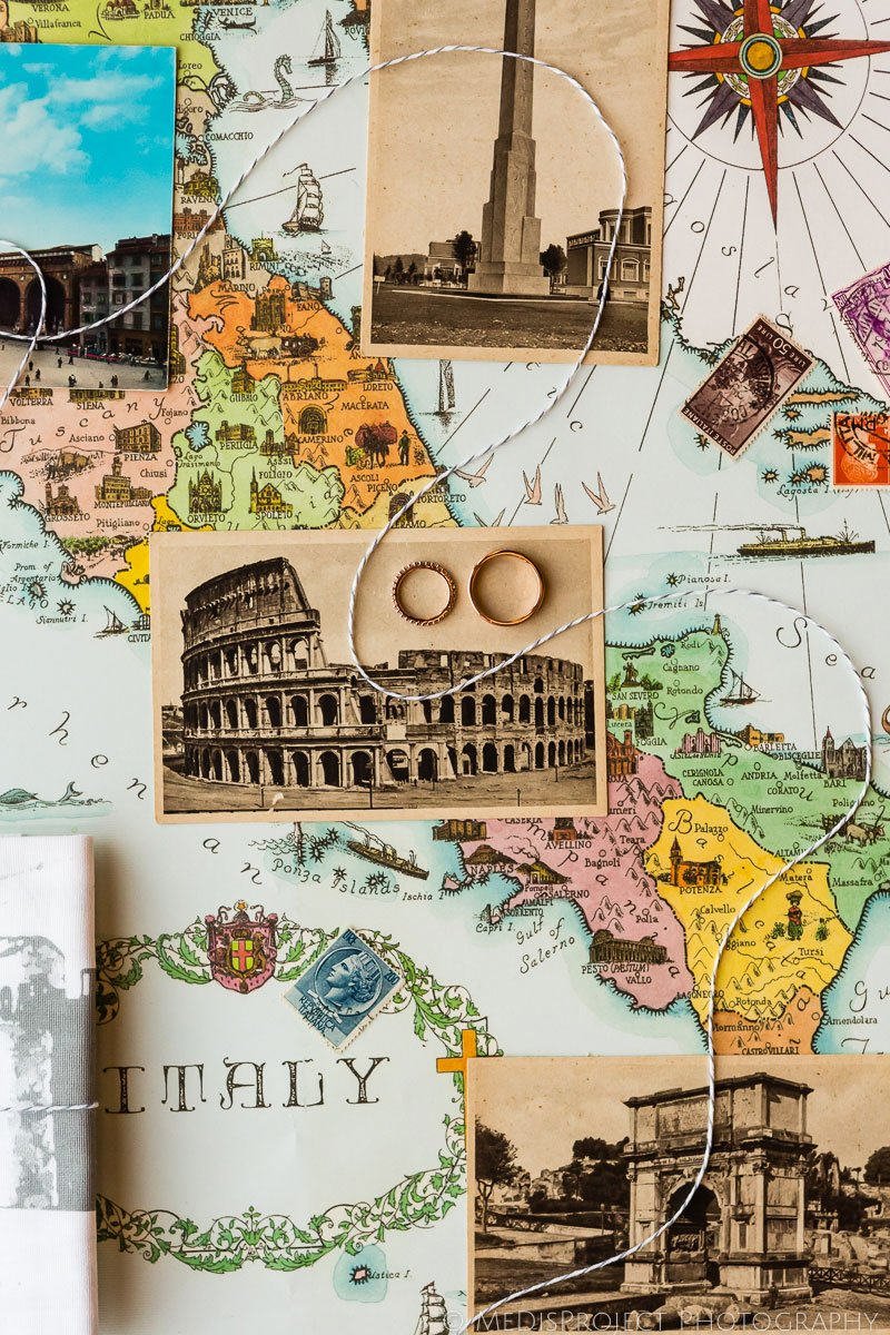 wedding ring on a map of Italy