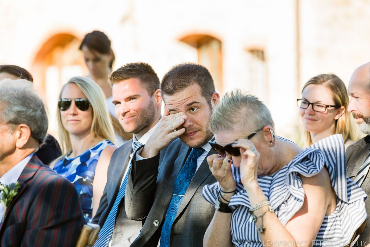wedding guests crying during the ceremony