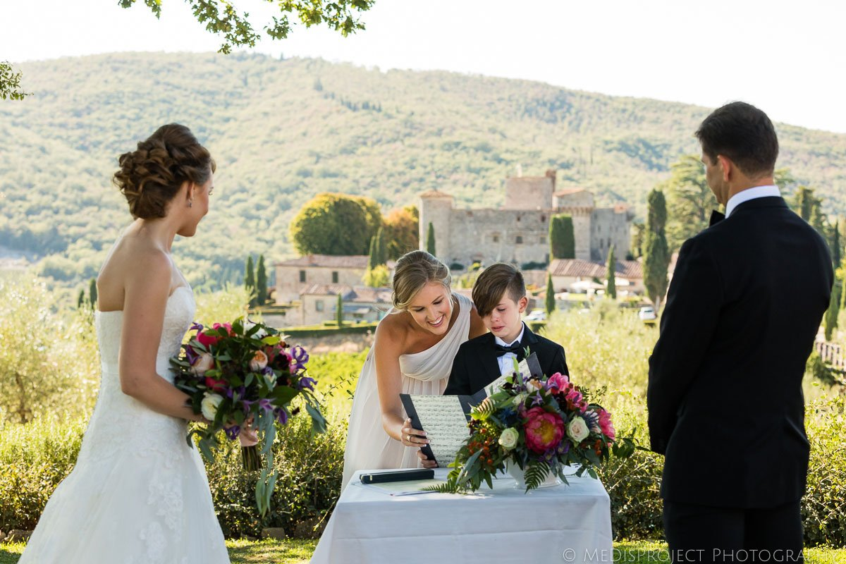 wedding ceremony at Meleto Castle