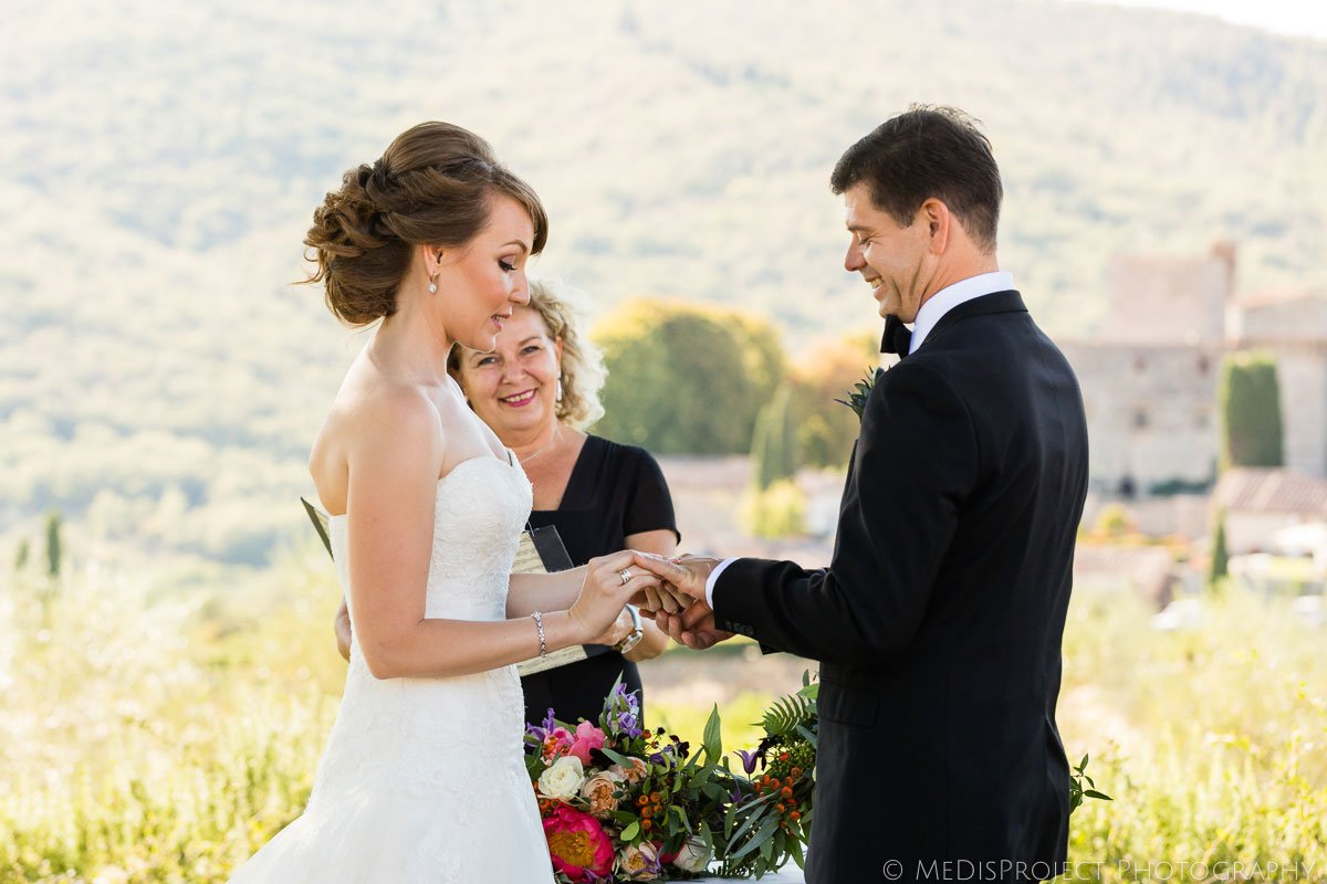 wedding ceremony with Jo Bertolino TuscanPledges at Meleto Castle