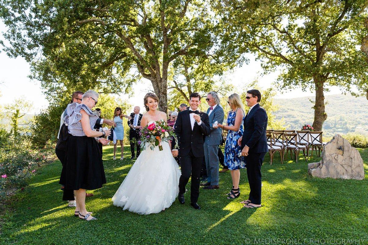 wedding ceremony exit at Meleto Castle