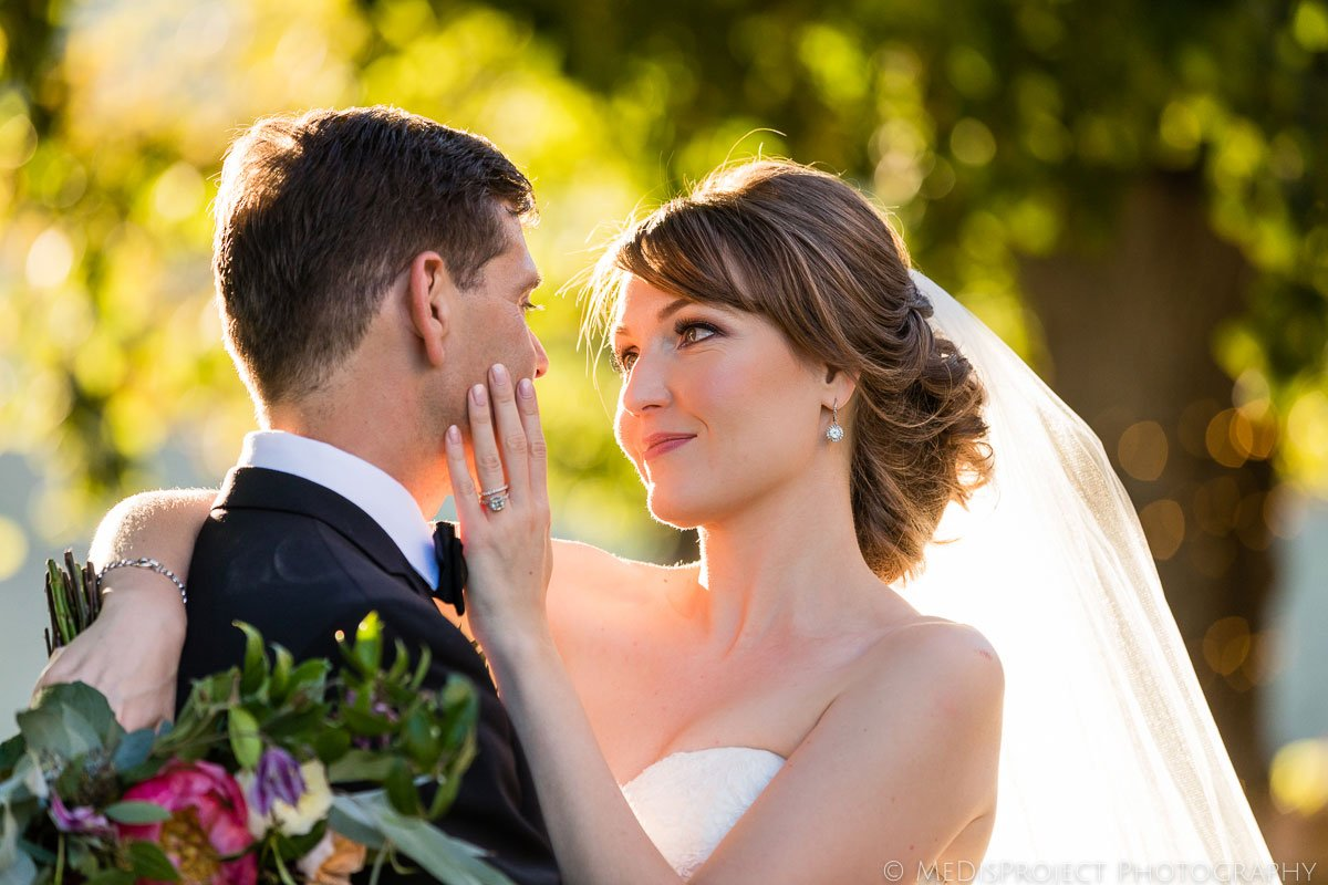 bride and groom romantic moment
