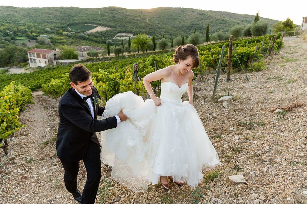 bride and groom funny moment in the vineyard