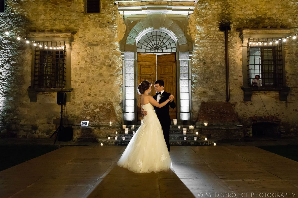 Bride and groom first dance at Meleto Castle