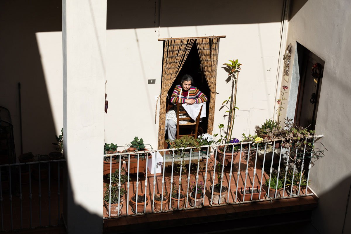 Italian balcony in a sunny day during Coronavirus lockdown