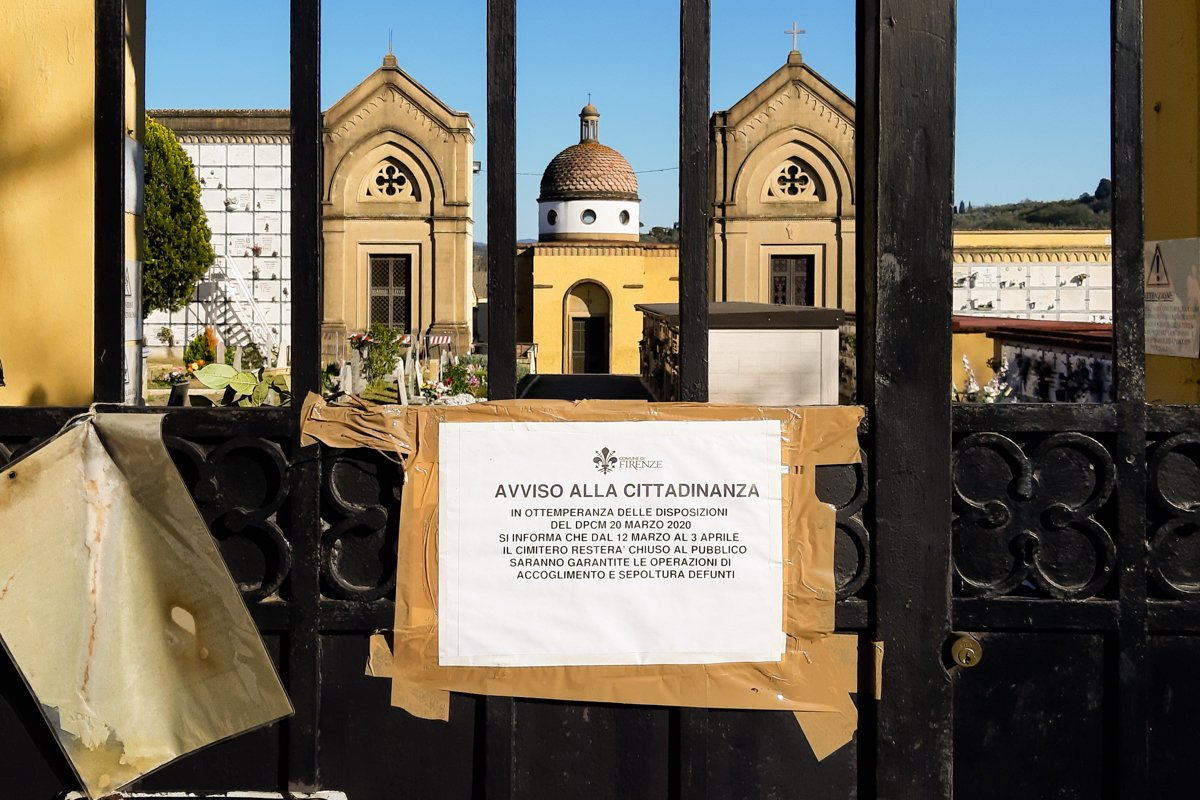 closed cemetery during Italy's coronavirus lockdown