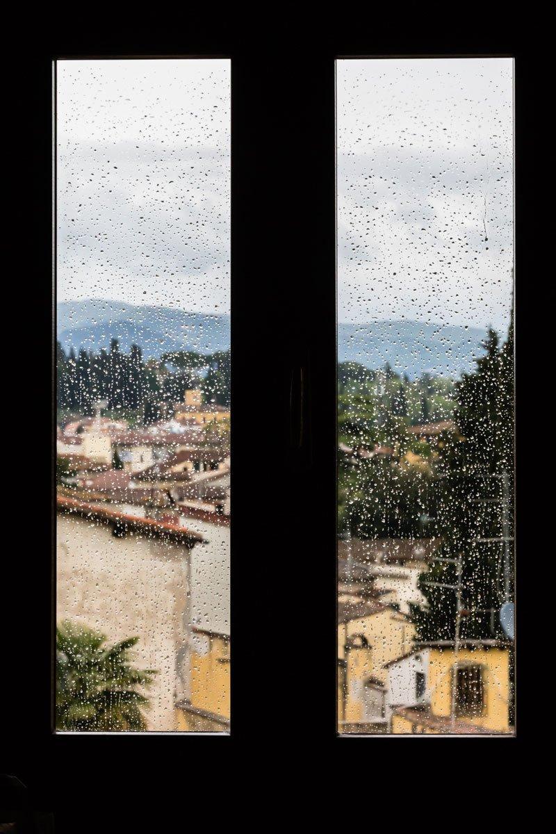 window on a rainy day