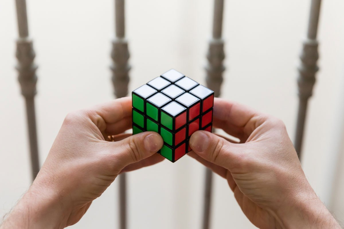 solved Rubik's cube with Italian colors