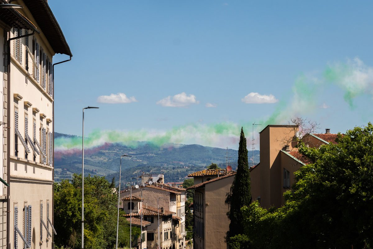 Frecce tricolore flyby over Florence during pandemic