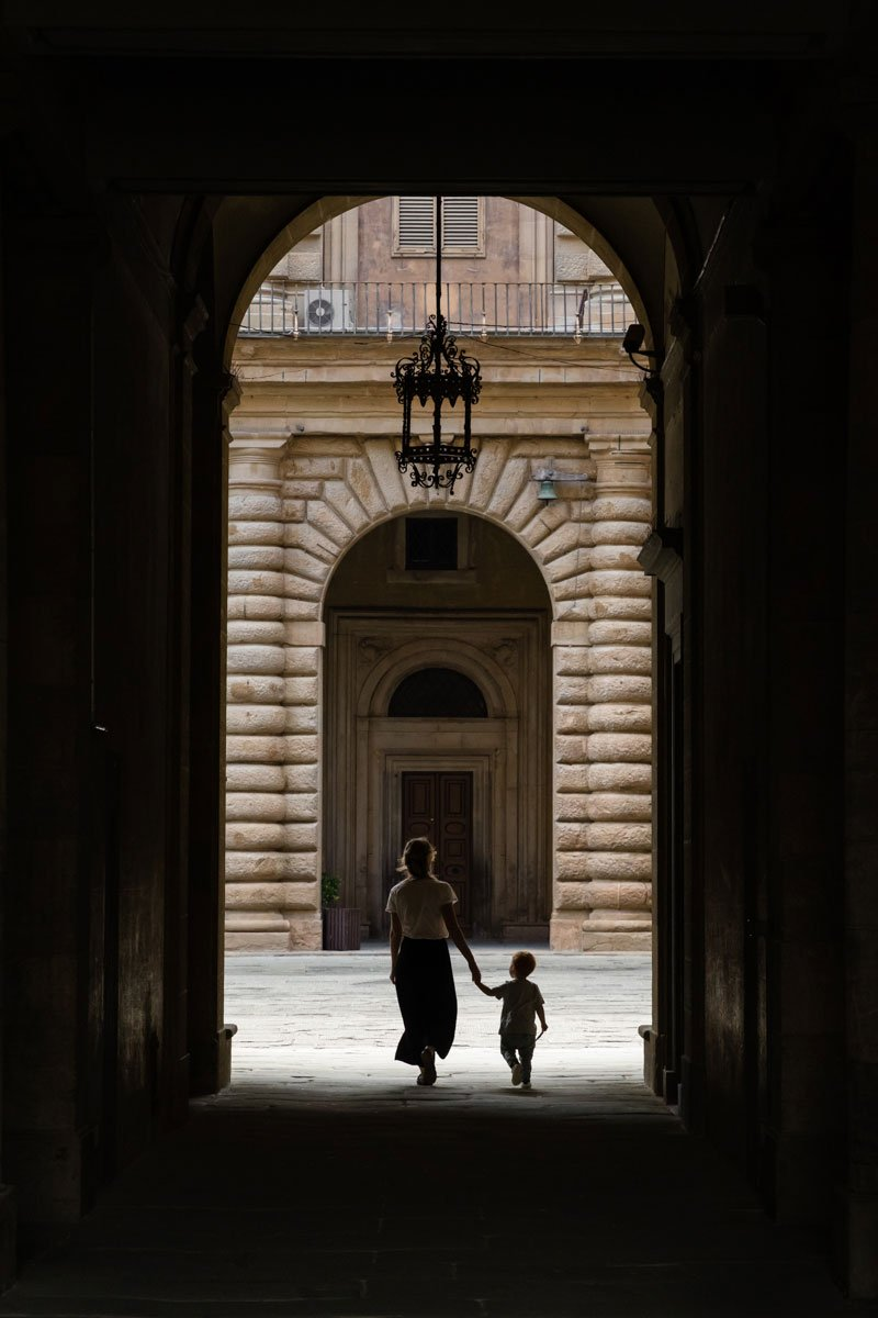 mother and son at Pitti Palace in Florence