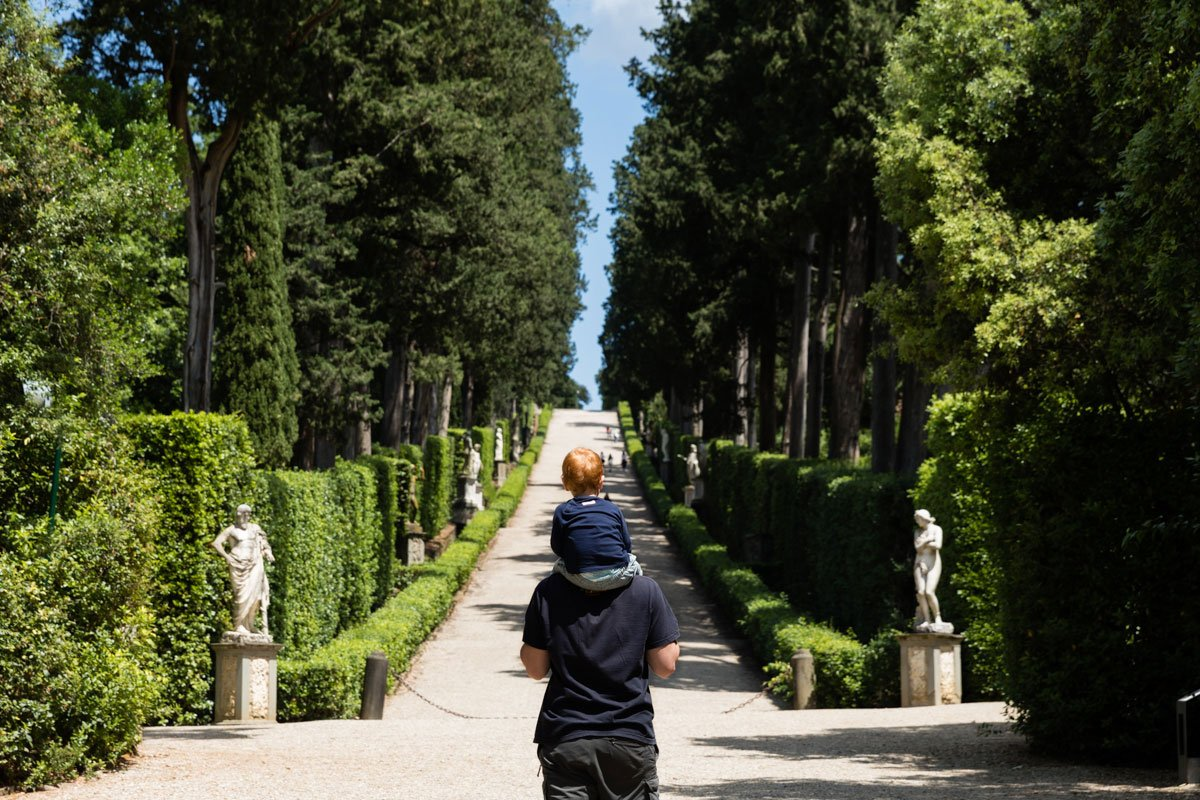 Father and son at Boboli Gardens in Florence