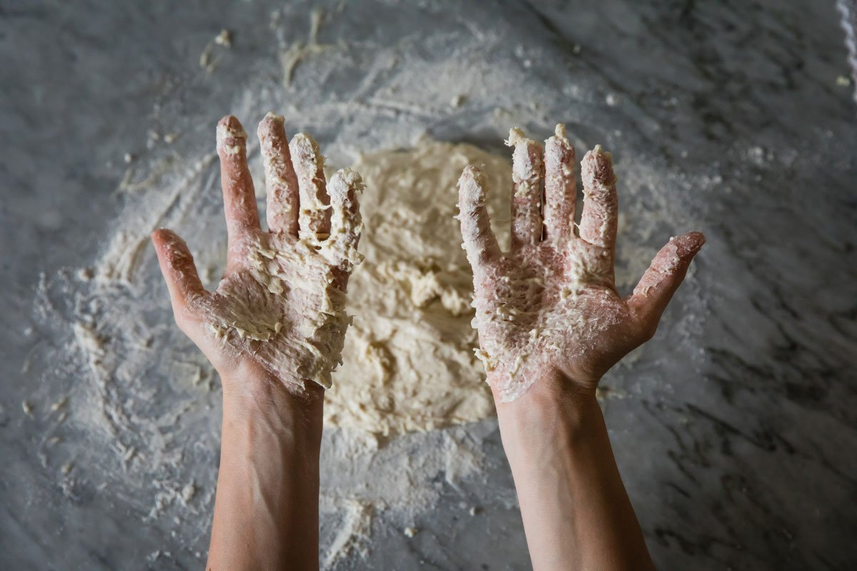 pizza dough sticky hands