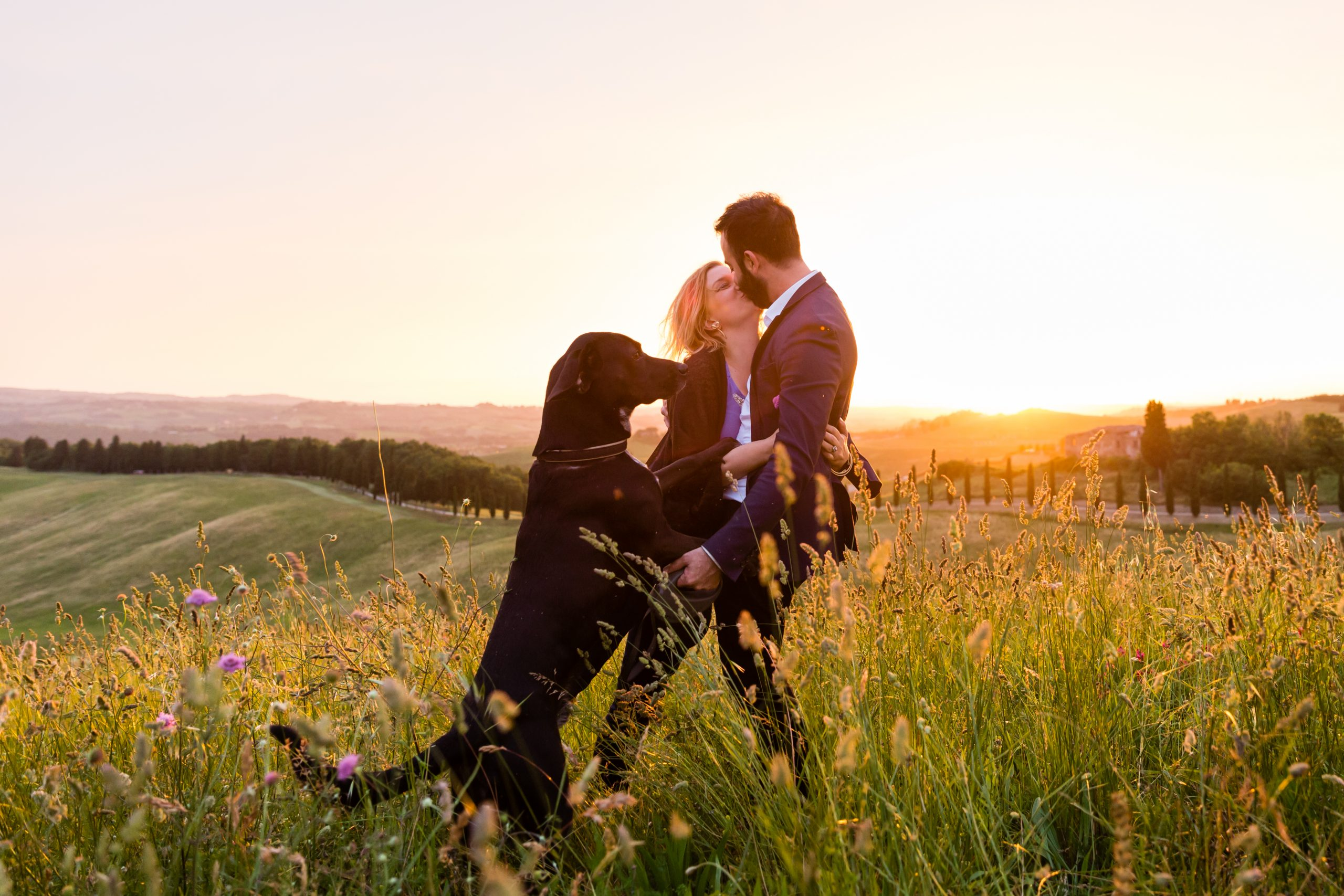 engagement photos with pet dog in Tuscany