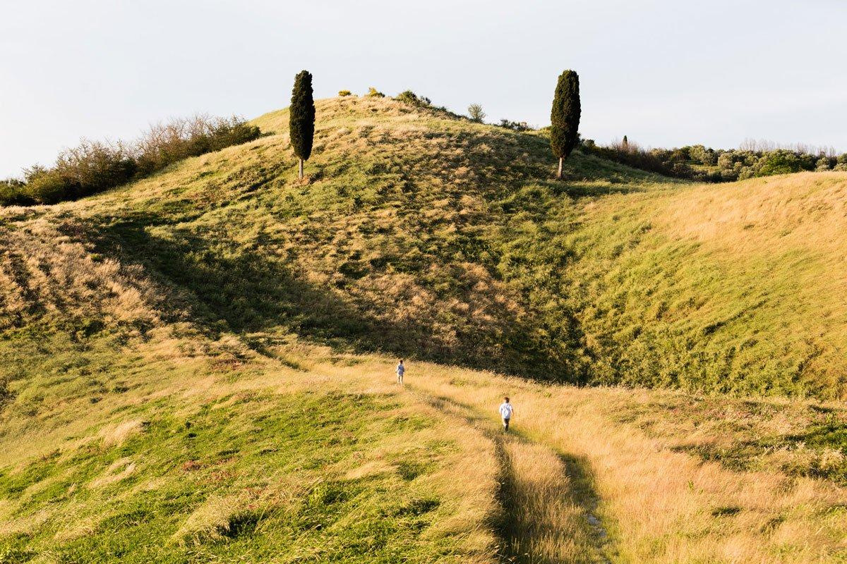 Kids running free in Tuscan park