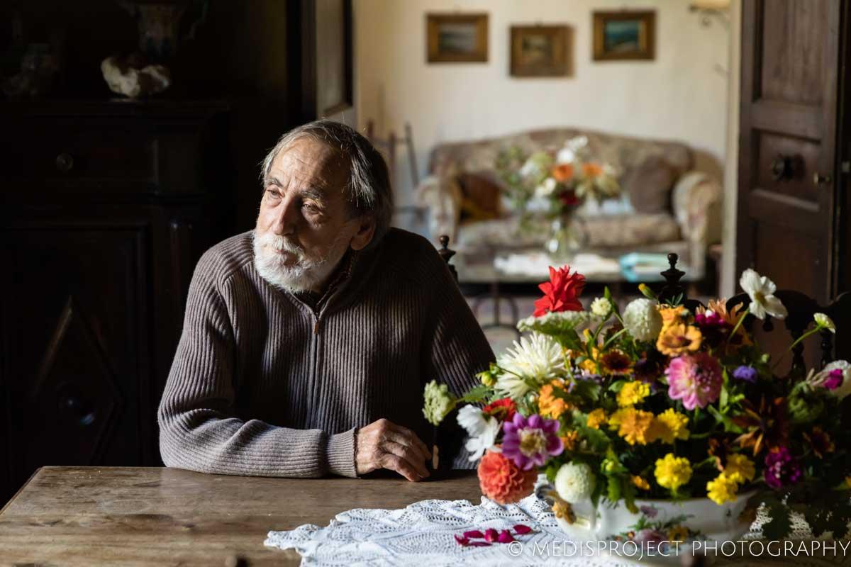 Vittorio Cipolla's portrait with flowers at Casa dell'Abate Naldi