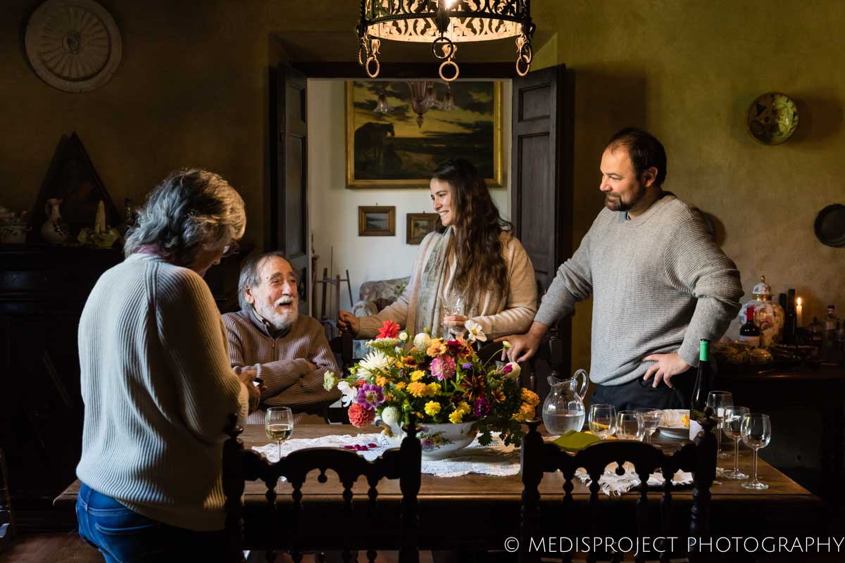 Lorenza and Vittorio with a couple of guests at Casa dell'Abate Naldi