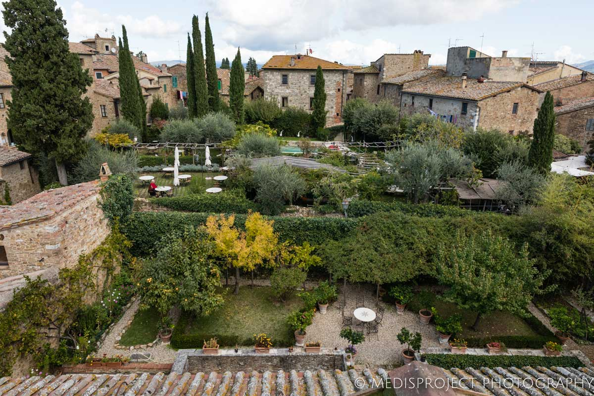 view from the tower of Casa dell'Abate Naldi in San Quirico d'Orcia