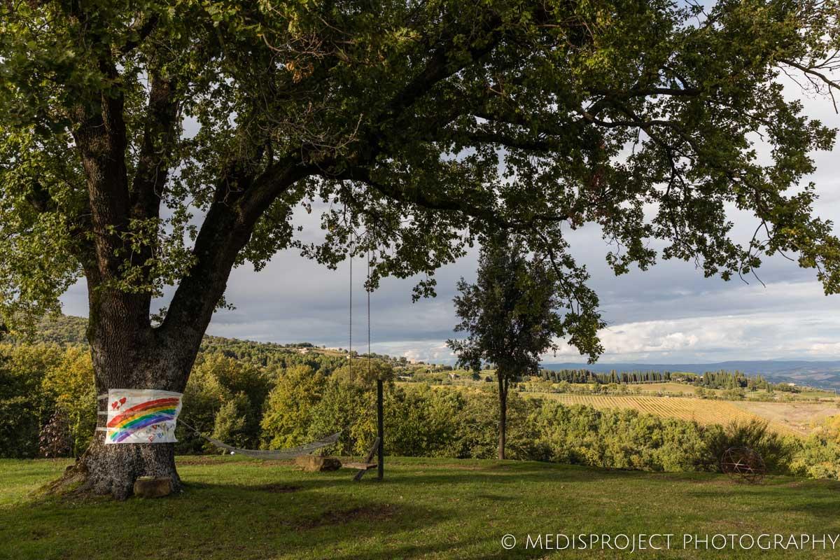 NostraVita garden overlooking the Tuscan hills