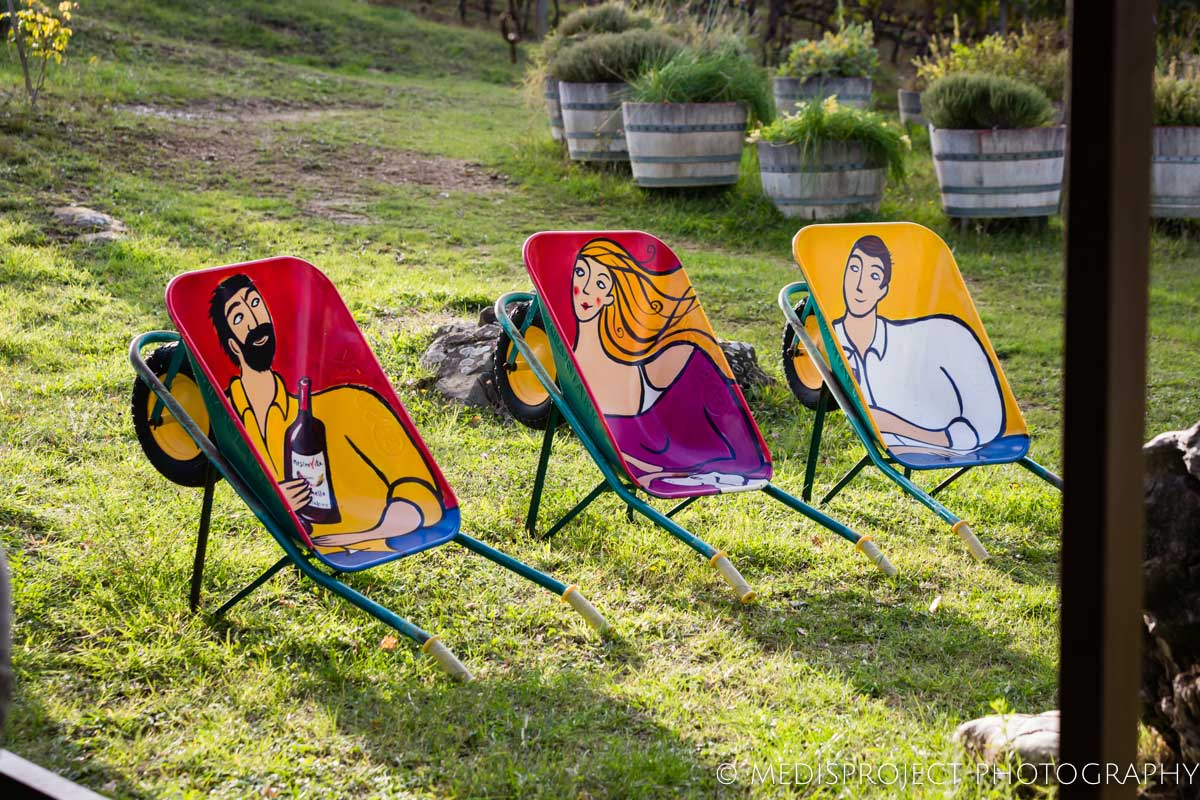 colourful wheelbarrow art installation at NostraVita winery