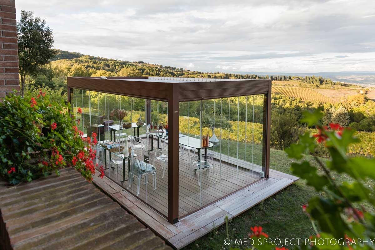 Glass gazebo for wine tasting at NostraVita winery